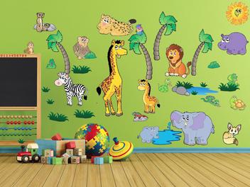 Samolepky na zeď - Velká sada safari