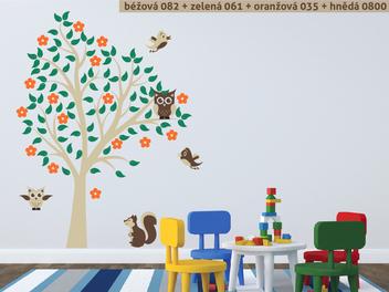Samolepky na zeď - Sovy na stromě