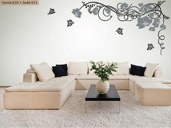 Samolepky na zeď - Květinový ornament s motýlky dvoubarevný