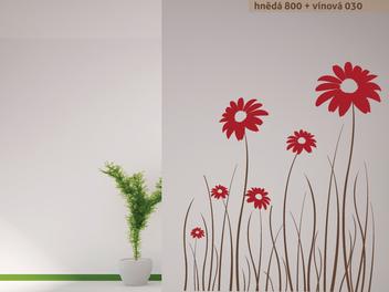 Samolepky na zeď - Dvoubarevné luční květiny