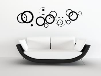 Samolepky na zeď - Dvoubarevná soustava kruhů