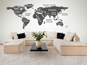 Samolepky na zeď - Mapa světa s popisky