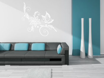 Samolepky na zeď - Samolepky na zeď - Motýl s květem