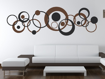 Samolepka na zeď - Retro kruhy